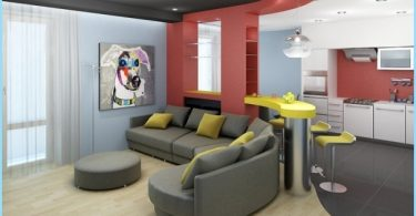 Iespējas zonējums dzīvojamo istabu un virtuvi