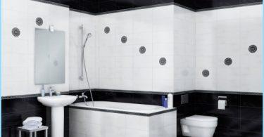 Dizains melnā un baltā vannas istabu